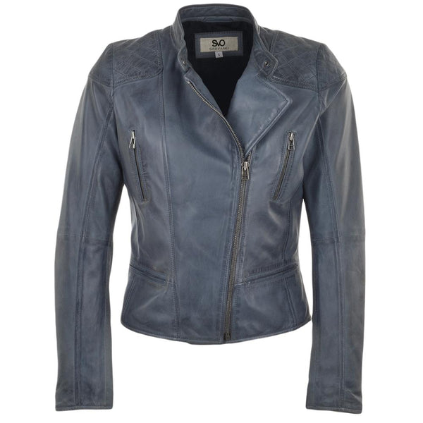 Women's Single Collar Snap Button Quilted Shoulder Leather Biker Moto Jacket