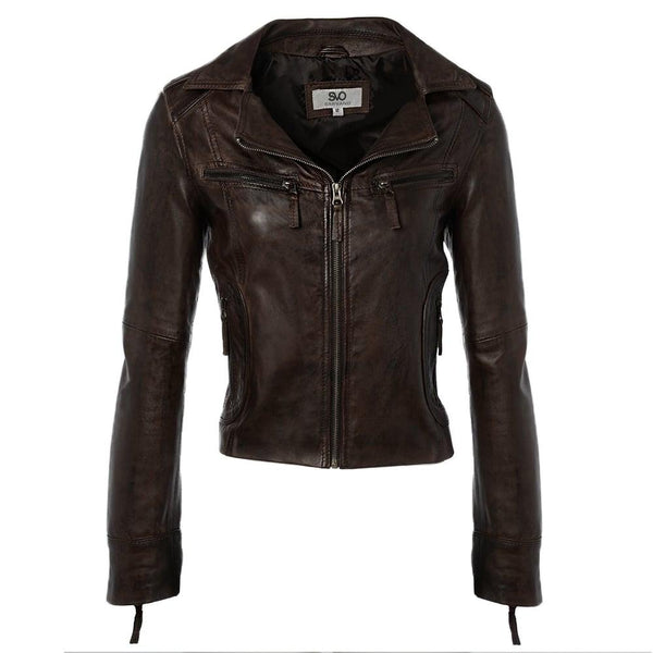 Women's Cropped Style Leather Biker Jacket