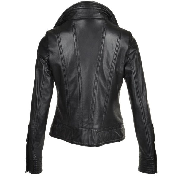 Women's Leather Biker Snap Collar Double Lapel Belted Jacket