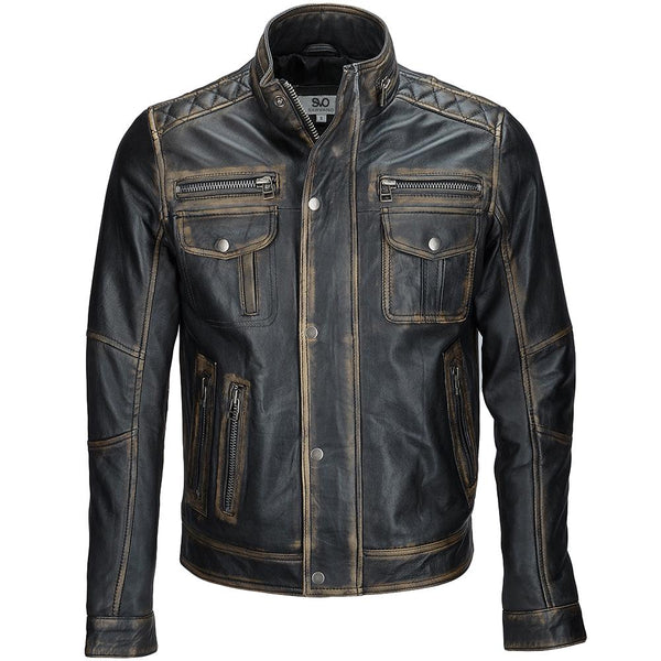 Mens Distressed Black Bomber Jacket