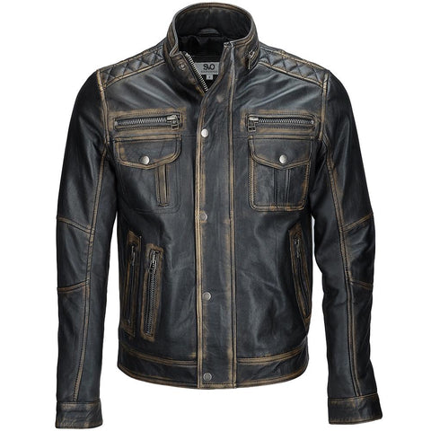 Men's Distressed Black Leather Bomber Biker Snap Button Multi-Zipper Jacket