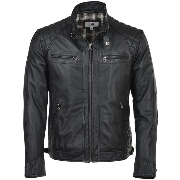 Straight Leather Biker Quilted Shoulder Jacket