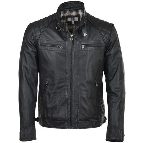Men's Straight Leather Biker Quilted Shoulder Jacket