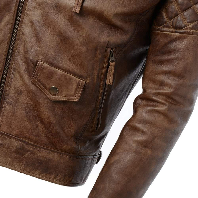 Men's Modern Classic Biker Moto Leather Jacket