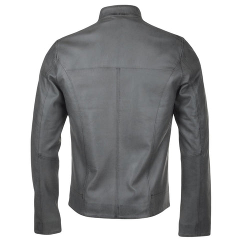 Men's Modern Leather Straight Biker Moto Racer Jacket