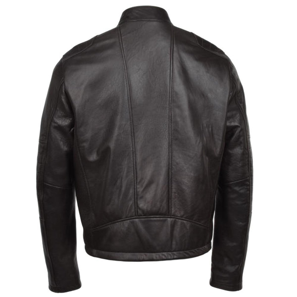 Men's Brown Leather Biker Moto Jacket Quilted Padding