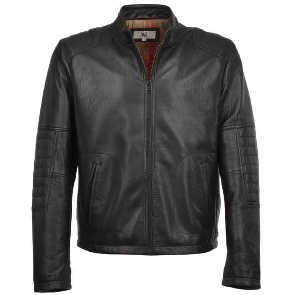 Brown Leather Quilted Padded Moto Jacket