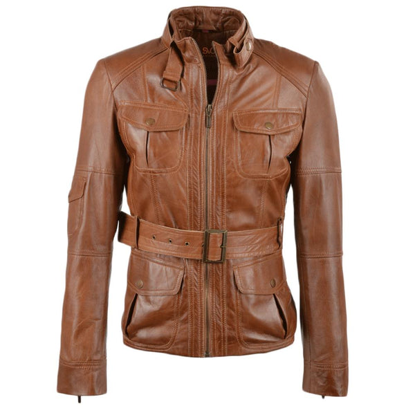 Women's Leather Belted 3/4 Cognac Jacket