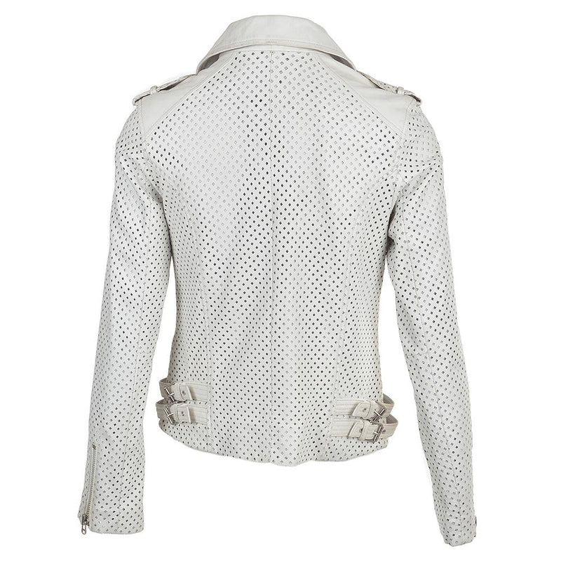 Women's Leather Diamond Hole Design White Biker Jacket