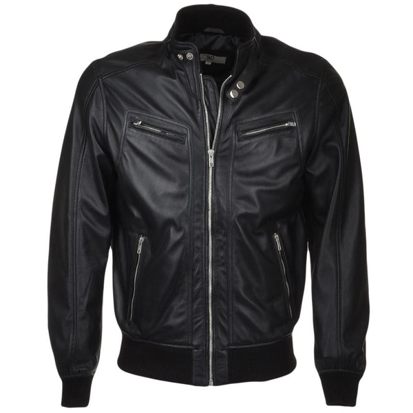 Men's Leather Bomber Snap Double Button Collar Jacket