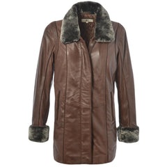 Women's Leather Parka Fur Trim Neckline Cuffs 7/8 Coat