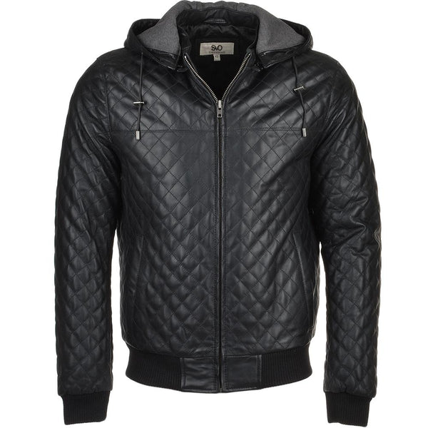 Quilted Leather Hoodie Jacket Bomber
