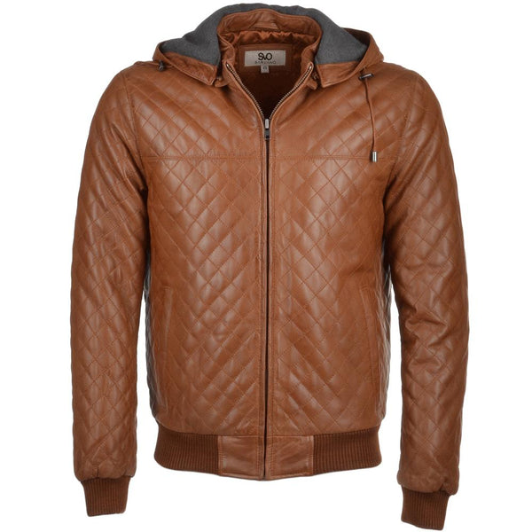 Men's Diamond Quilted Leather Hooded Tan Bomber Jacket