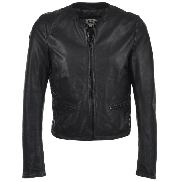 Women's Collarless Straight Leather Biker Jacket