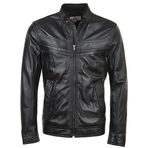 Straight Snap Leather Biker Jacket