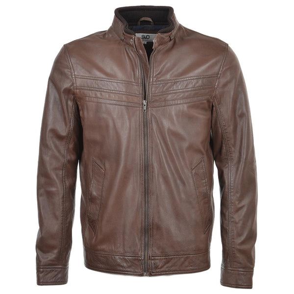 Men's Black Straight Single Snap Button Collar Leather Jacket