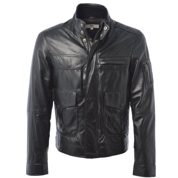 Straight Leather Double Snap Button Collar Jacket