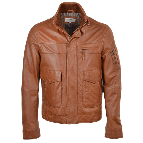 Men's Straight Leather Double Snap Button Collar Jacket