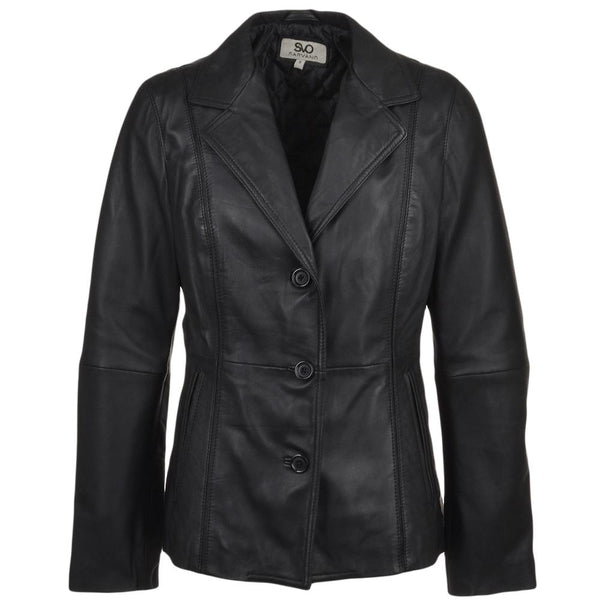Women's 3 Button Leather Blazer