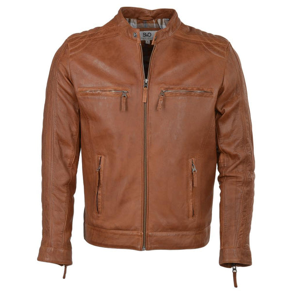 Men's Straight Quilted Shoulder Leather Biker Jacket