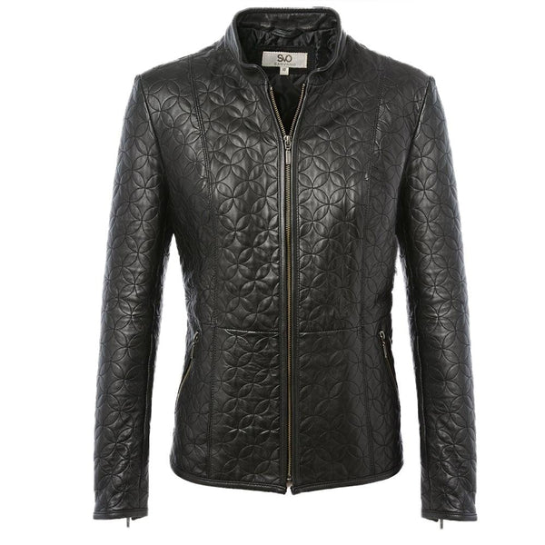 Women's Scuba Leather 3D Design Biker Straight Single Collar Jacket