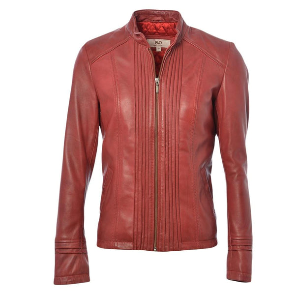 Women's Leather Straight Shirt Jacket