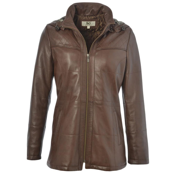 Women's Leather Hooded Parka