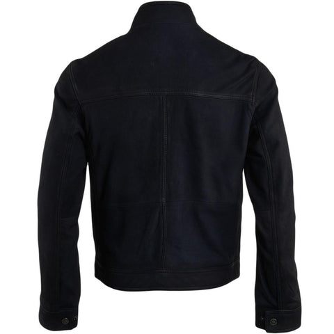 Men's Navy Suede Leather Belted Collar Straight Biker Jacket