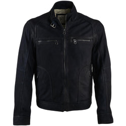 Men's Black Suede Leather Belted Collar Straight Biker Jacket