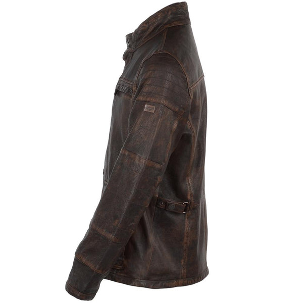 Men's Vintage Brown Leather Bomber Jacket Washed
