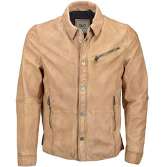 Men's 6 Button Cowhide Leather Long Sleeve Shirt