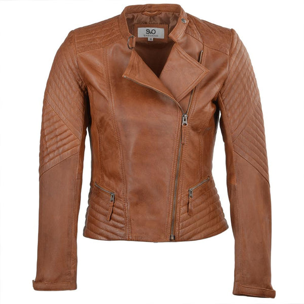Women's Leather Biker Quilted Jacket