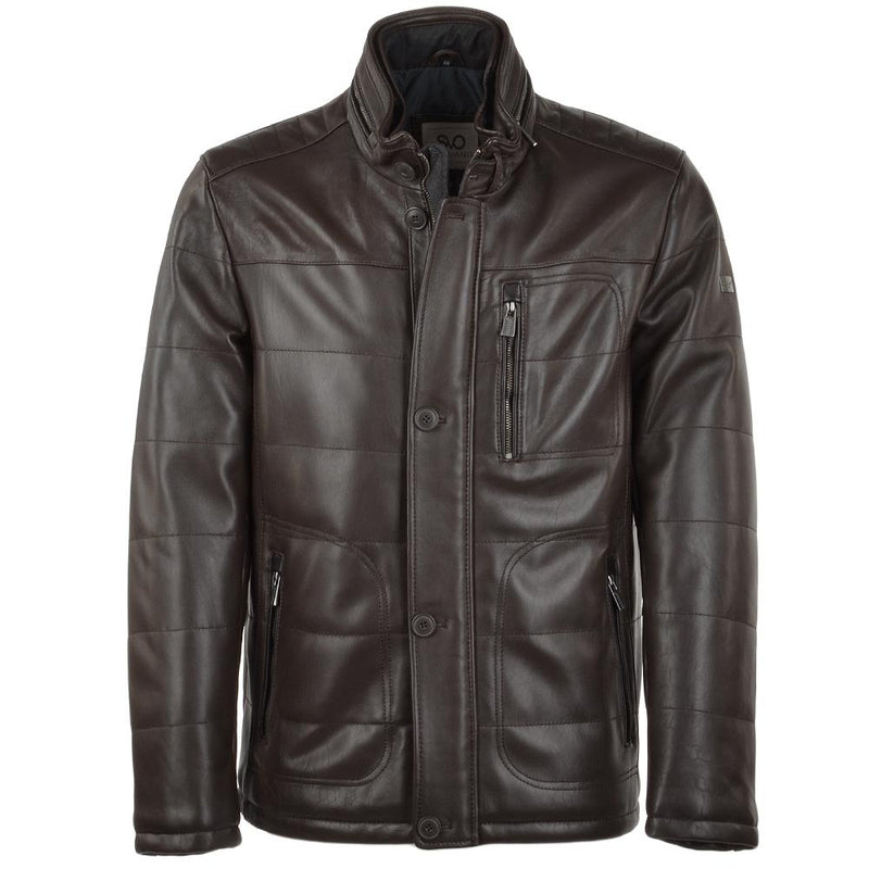 Men's Dark Brown Quilted Puffer Leather Bomber Jacket