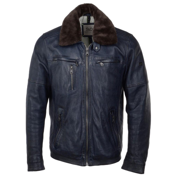 Men's Leather Aviator Flight Bomber Jacket Fur Collar