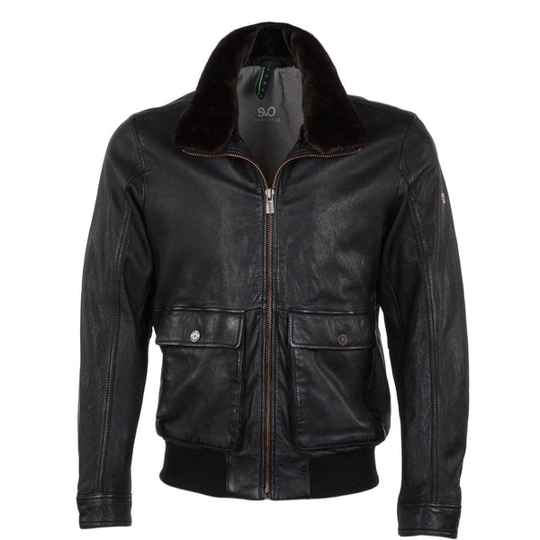 Men's Leather Bomber Pilot Fur Collar Jacket