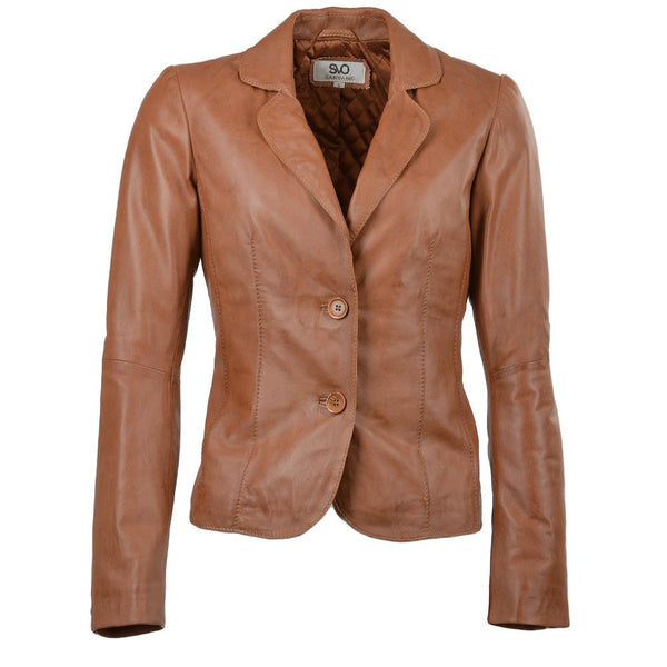 Women's Leather 2 button Elegant Short Blazer