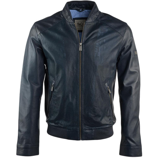 Men's Euro Perforated Blue Biker Race Moto Jacket