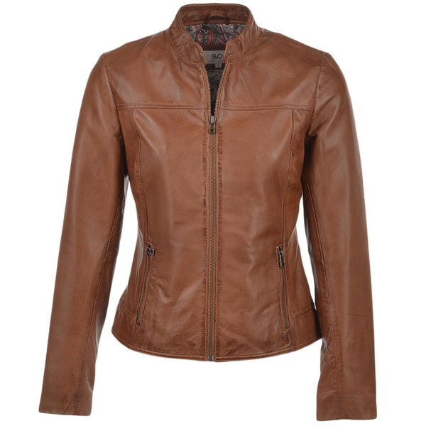 Women's Biker Straight Leather Jacket