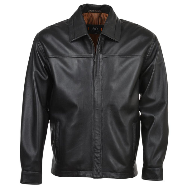 Men's Leather Straight Lapel Jacket