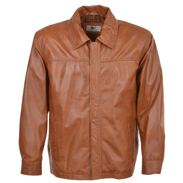 Mens Straight Lapel Leather Jacket