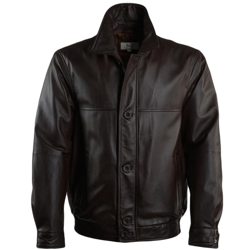 Men's Leather Bomber Casual Button Up Zipper Jacket