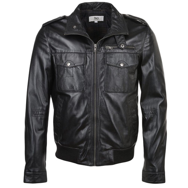 Men's Leather Bomber Mid Length Jacket