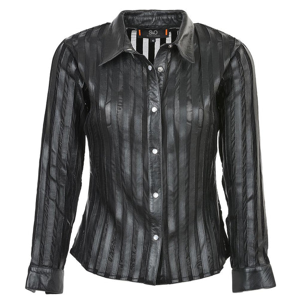 Women's Leather Long Sleeve Dress Shirt