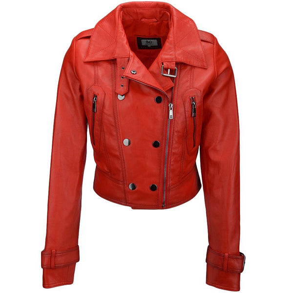 Women's Lambskin Leather Biker Moto Racer Jacket