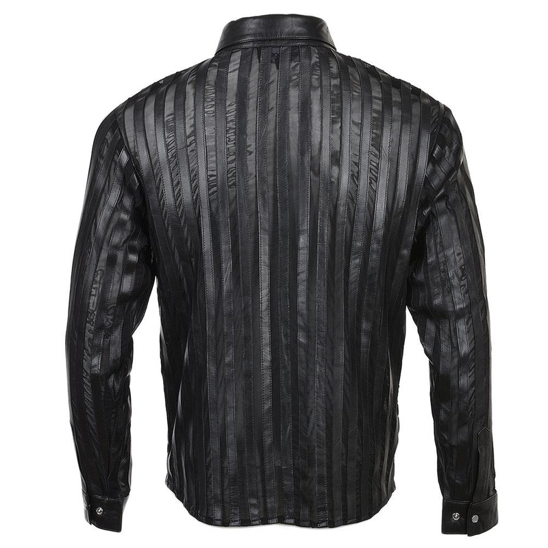 Men's Black Leather Dress Long Sleeve Striped Shirt