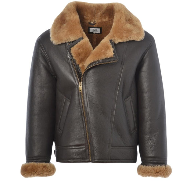 Men's Sheepskin Leather Flying Pilot Jacket