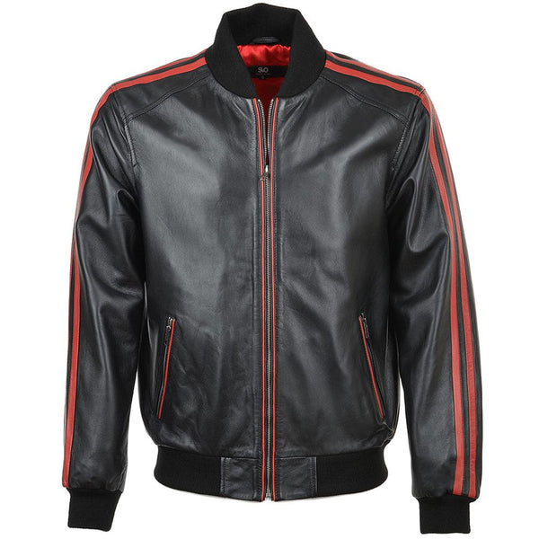 Black Red Leather Stripes Bomber Jacket Baseball