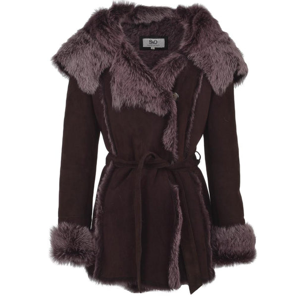 Women's Hooded Purple Sheepskin Leather Jacket