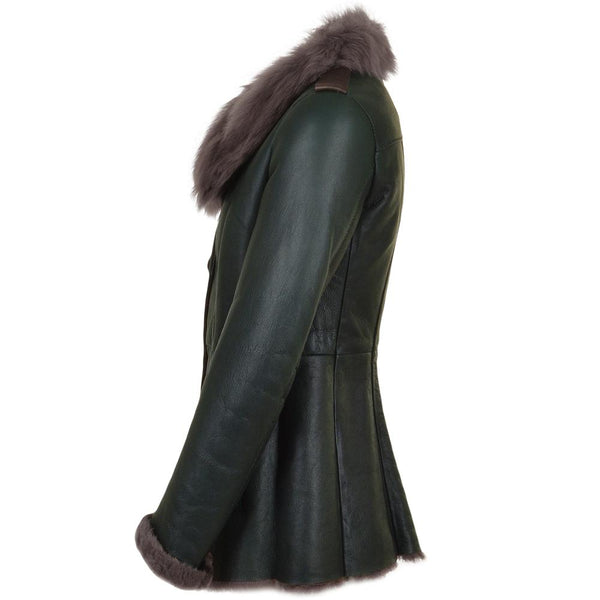 Women's Sheepskin Leather Green 3/4 Button Down Jacket