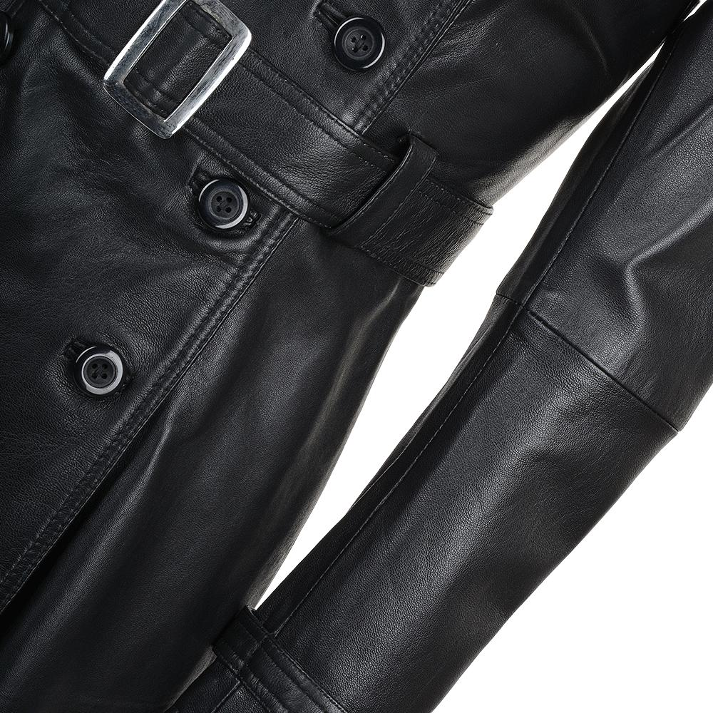Women's Black Double Breasted Soft Lambskin Leather Belted Trench Coat
